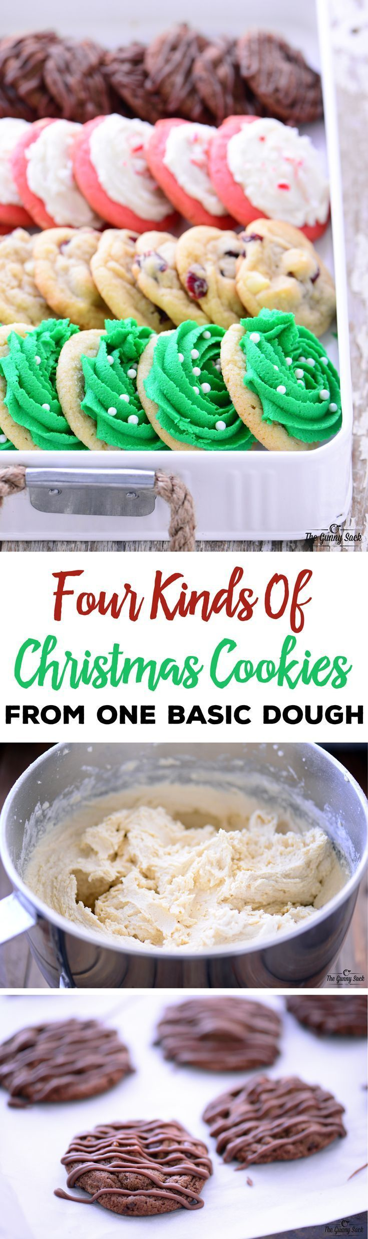 Kitchen hack for holiday baking: make four kinds of Christmas cookies from one basic dough recipe. Prepare the dough ahead of time, freeze and bake later.