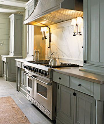 Beautiful Kitchen, The Viking Range I Grew Up With And Love The Double  Sconces! Paint Color: Benjamin Moore Great Barrington Green (funny Because  I Ate ...