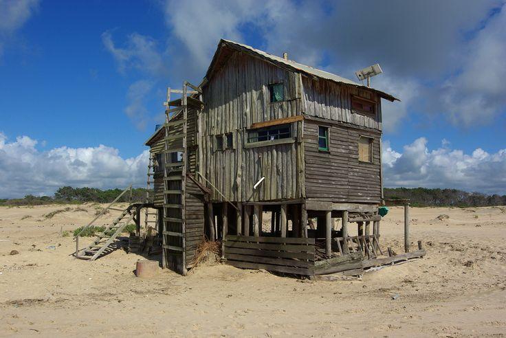Unpermitted beach huts in Barra de Valizas, Uruguay.