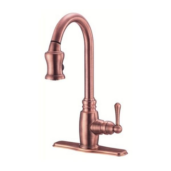 Danze Single Handle Kit Opulence Pull Down Lever Handle Antique Copper  Faucet