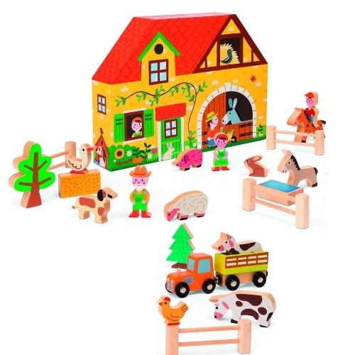 Wooden Farm Play World.  A fantastic and affordable wooden toy play farm solution from Janod. This 23 piece set contains a tractor and trailer, 2 cows, a horse, a donkey, a pig, sheep, duck, rabbit and chicken, plus the farm dog, the farmer, his wife and a farm hand. The box is shaped just like a little farmhouse and with the the four fences, hay bales and trees and you have the building blocks for hours of imaginative play.