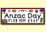 Anzac Day Resources - FREE - Flash Cards, posters, Display words, ANZAC themed writing paper, worksheets, colouring in, flags, recipes,