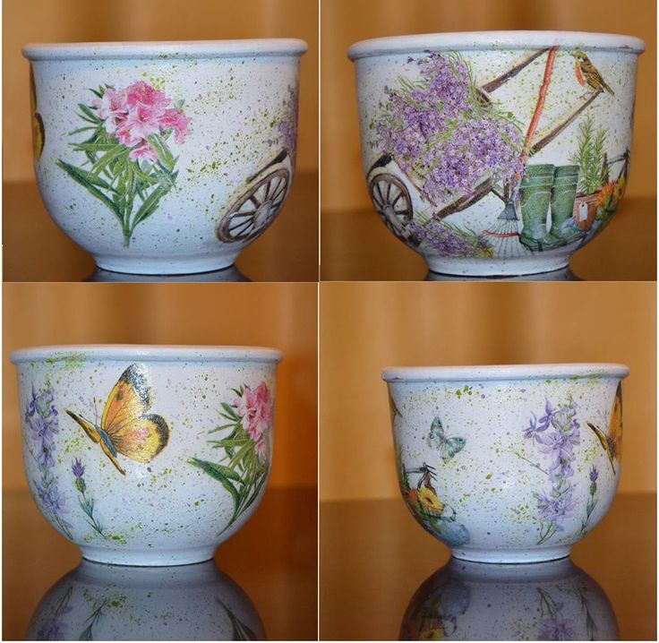 Flower pot manually decorated using decoupage