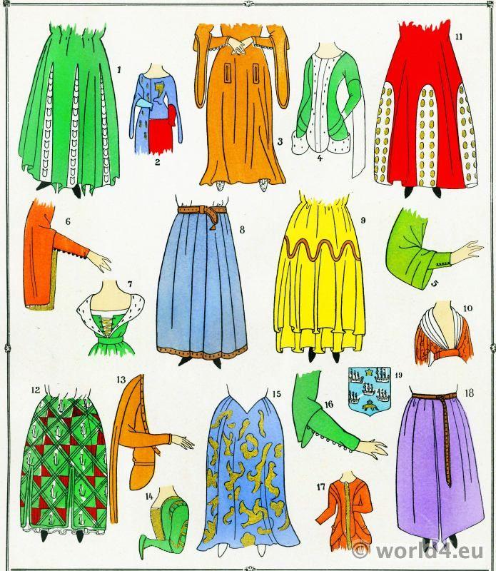 Nederdele mode middelalderen 13. til 15. århundrede.