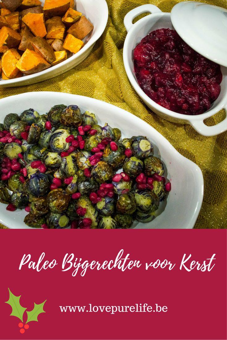 Heerlijke gezonde bijgerechten voor de feestdagen: Oven geroosterde spruitjes met tijm en granaatappelpitjes, Zoete Aardappel Wedges en Veenbessensaus.  Glutenvrij - Lactosevrij - Paleo