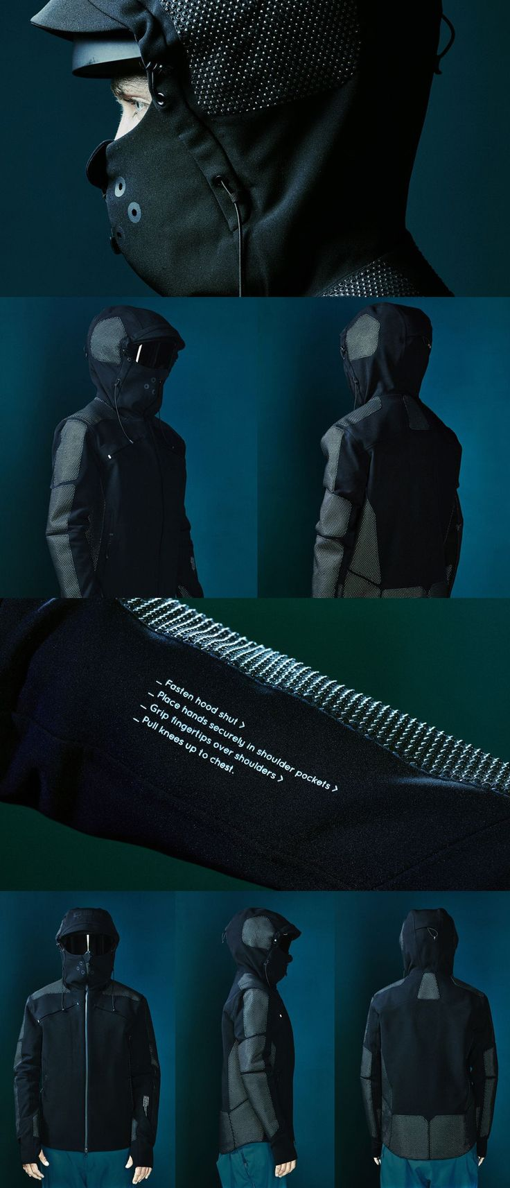 Vollebak Condition Black Jacket - The Condition Black Jacket incorporates 19 panels of ceraspace – an innovative protection fabric formed from 3D ceramic particles set in a flexible skin.