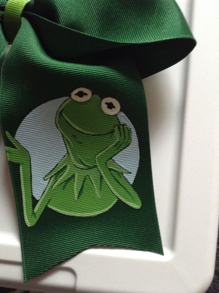 The Muppets Kermit The Frog Handpainted Cheer Dance Hairbow French Clip Green  #Handmade