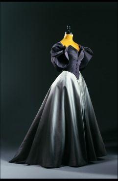 Charles James ball gown with jacket; silk taffeta, duchess silk satin and silk taffeta. 1950.