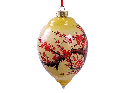 Cherry Blossom Eglomise Painted Glass Ornament