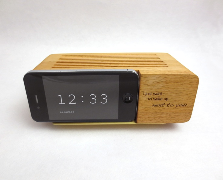 """I just want to wake up next to you."" Engraved iPhone Alarm Dock, with custom message for your Valentine. Come and see us on Granville Island and meet our engraver so you can make your next gifts personal."