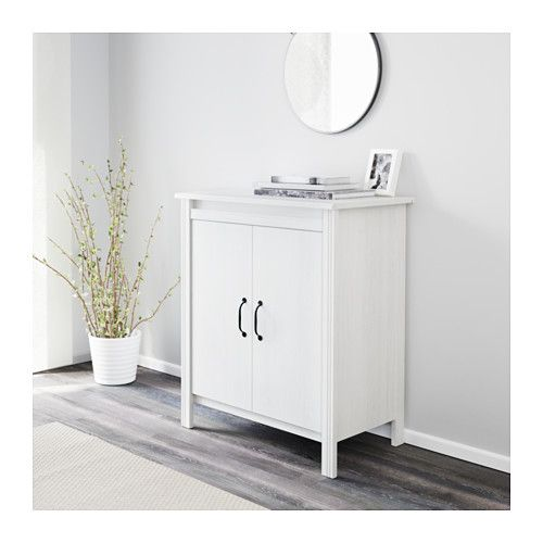 "BRUSALI Cabinet with doors - white - IKEA 80  Width: 31 1/2 "" (80 cm)  Depth: 18 7/8 "" (48 cm)  Height: 36 5/8 "" (93 cm)"