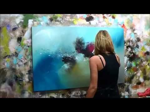 "Demonstration of Abstract Painting (2) Elisabeth – Canvas ""Thinking"" – YouTube"