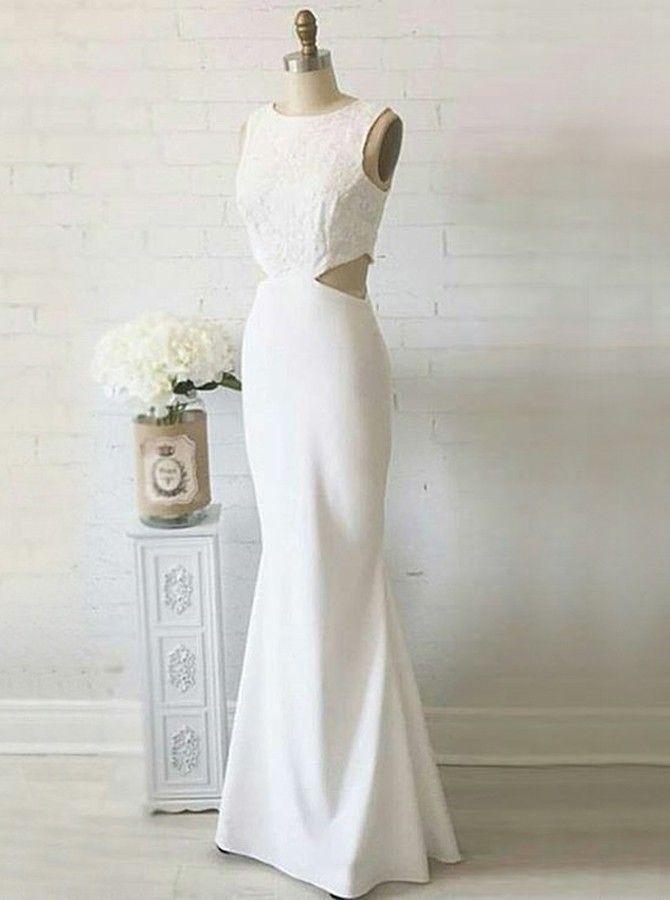 8ec34c0846 Mermaid Round Neck Sleeveless White Stretch Satin Prom Dress with ...