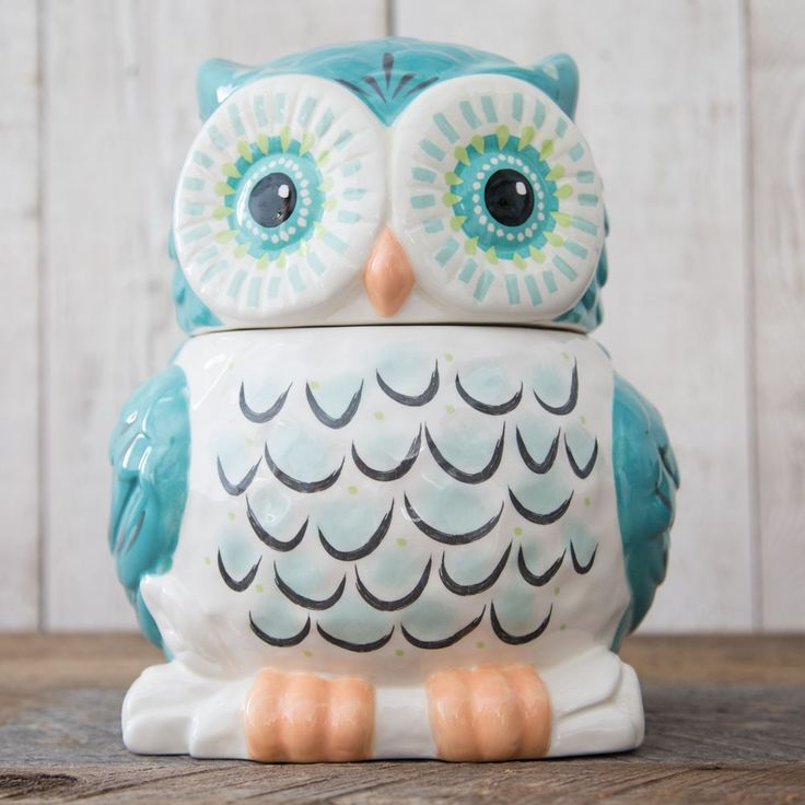 Owl Cookie Jar - Keep your cookies fresh with this adorable owl cookie jar! Hand-sculpted ceramic jar with rubber seal.