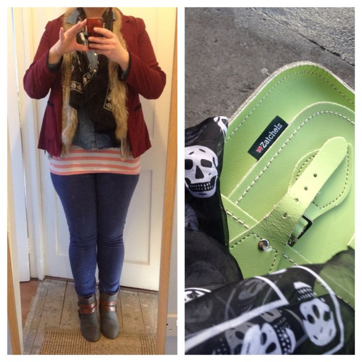 Meeting a friend for lunch: burgundy blazer from Penneys (Primark), furry gilet under for warmth, denim shirt from Penneys, long striped tank from Jack Wills, indigo skinnies from Levis Curve, hidden wedge ankle boots from Aldo, skull print scarf, and bright green satchel from Zatchels ciaraspillsthings.wordpress.com