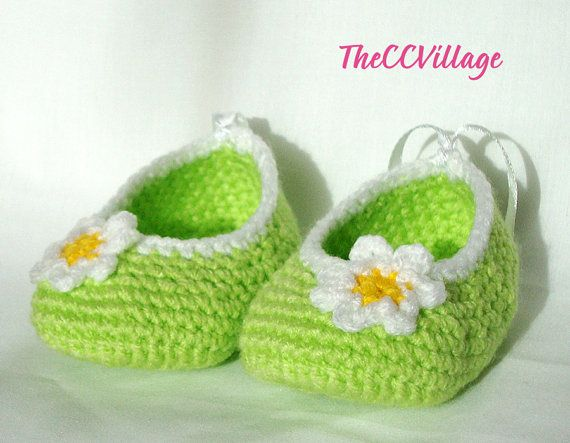 Green handmade crochet baby shoes, Crochet Baby Girl Shoes Ballerina flower white and yellow for summer