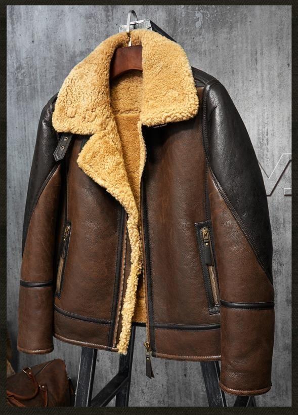 384fea66eab Denny Dora Men s Shearling Leather Jacket Light Brown B3 Jacket Men s Fur  Coat Aviation Original Flying Jacket
