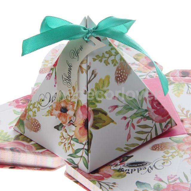 50 STÜCKE Floral Bedruckte Dreieck Süße Süßigkeiten Geschenk-boxen mit Bänder Hochzeit Engagement Baby Party-bevorzugung