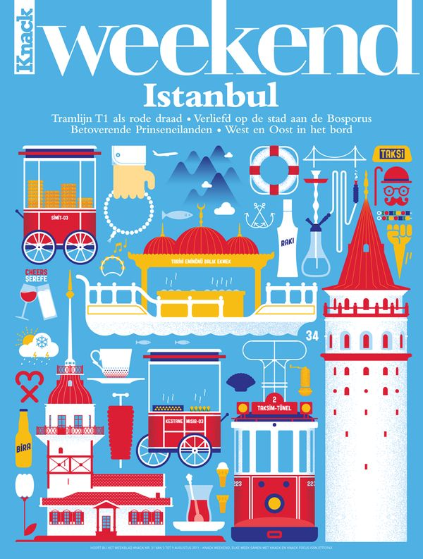 Belgian lifestyle magazine Knack Weekend have a series of about travelling.  They asked seven local designers to create the covers for seven cities; New York, London, Barcelona, Paris, Berlin, Istanbul and Amsterdam.