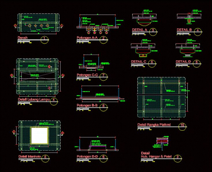 Ceiling frame detail (dwgAutocad drawing)