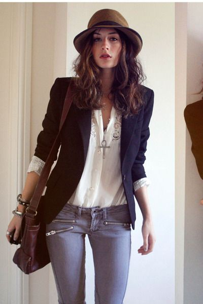 Business casual work outfit: white lace button up top, navy blazer, grey skinnies. I'd go with more polished looking pants probably Oxfords or heels.