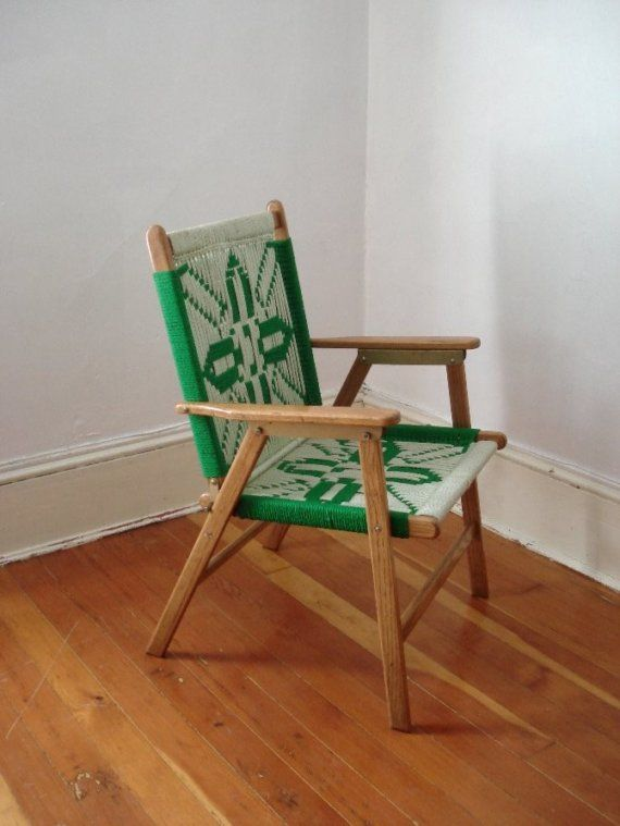 Vintage Wooden Chair with woven design by PsychicCeremonies