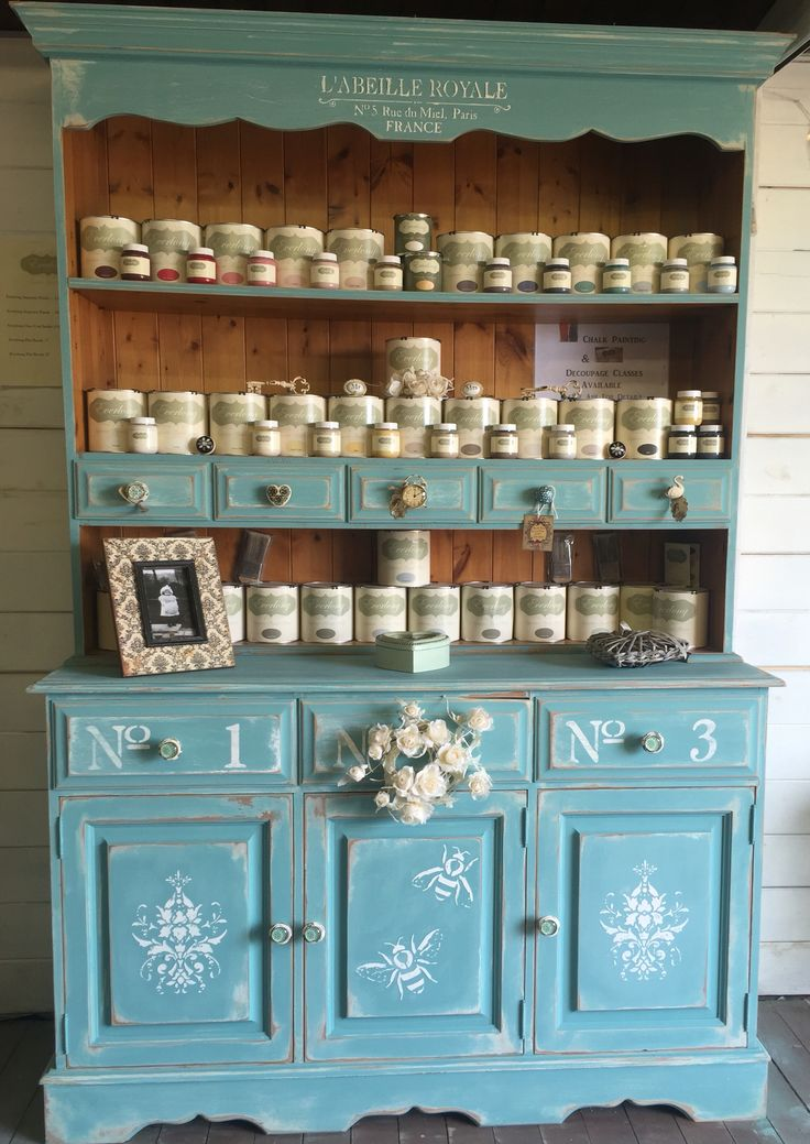 Re-Vamped My Shop Dresser In Everlong Kingfisher, Heavily Distressed & Pollyfiller Stencilling