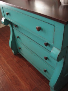 European Paint Finishes: Teal Chest of Drawers ~