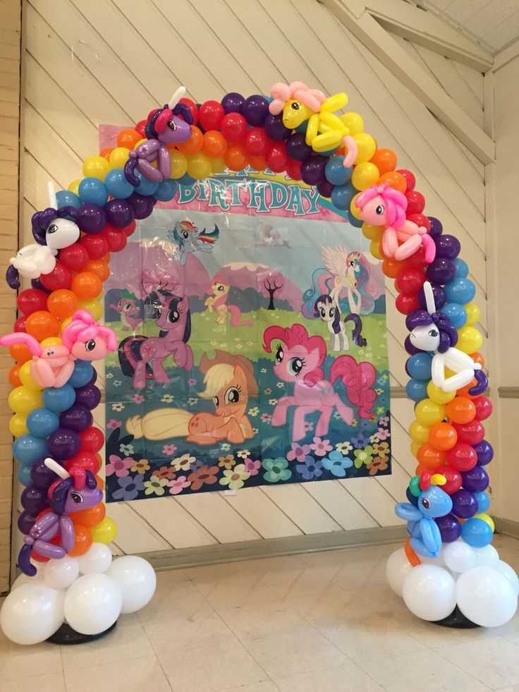 Here is a My Little Pony themed balloon arch I twisted with the ponies all around ... Rebecca Kanar