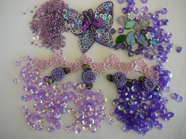 Embellishment Mixed Pack  Embellishments - Purple Passion  Includes: 2 x 5 grms Cupped Sequins, Seed Beads, Sequin Motif, Cotton Flowers, Pressed Glass Beads - Flowers and Leaves Hand Dyed Flowers