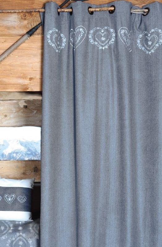Rideau façon laine gris coeur brodé