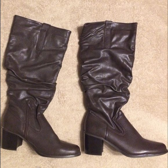 Impo Thick Heel Boots Mix between cowboy boot and regular knee high boots. I wore these once and just have so many boots I'm downsizing. 3in heels. Shoes Heeled Boots