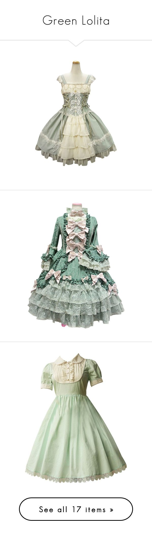 """Green Lolita"" by sw-13 ❤ liked on Polyvore featuring dresses, lolita, jsk, op, light green dress, cotton day dresses, cotton dresses, green cotton dress, green dress and christmas"