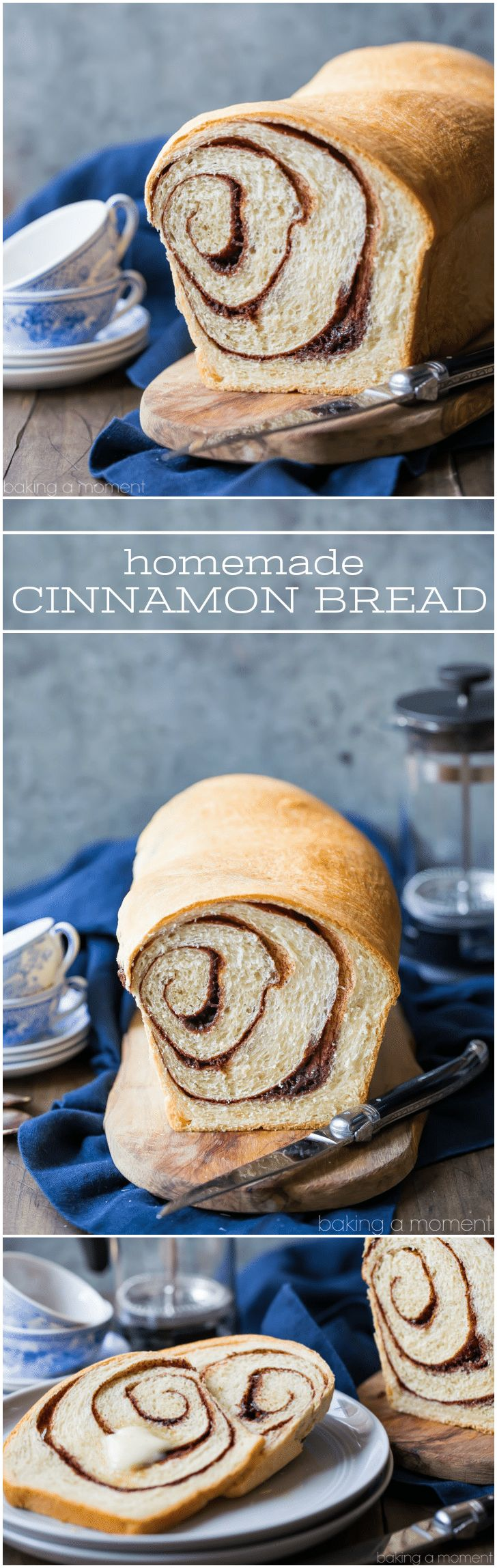 Homemade Cinnamon Bread Recipe: this is the best I've ever tried. Soft and moist, with a ribbon of cinnamon sugar running all throughout. Perfect toasted and buttered for breakfast! food breads cinnamon