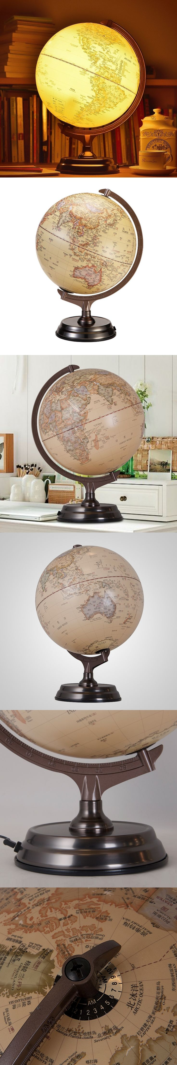 30cm HD Antique 3D Relief Earth Globe Table Lamp Student Kids Geography Gifts Study Office Desk Decor World Map Light Kids Lamps