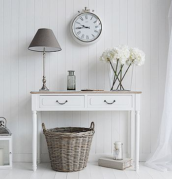 Console tables for hall and living room furniture in grey, white and cream. The Suffolk white console table