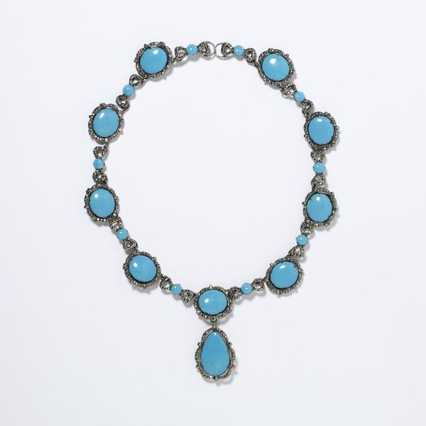 Necklace, 1730-1760, Germany, Pyrites (commonly known as marcasites), enamel and silver. Necklace of enamelled plaques in imitation of turquoises with marcasite borders set in silver. The enamel plaques are set with removable wires, making it possible to interchange them. | Victoria and Albert Museum, London