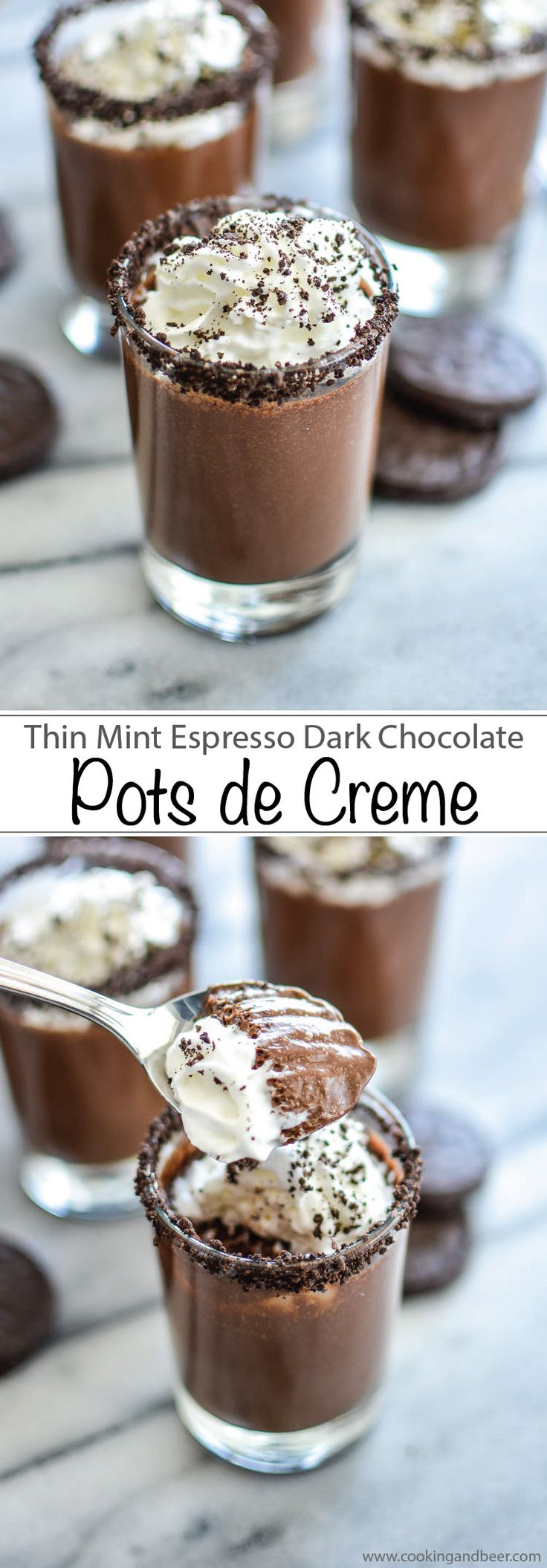 Thin Mint Dark Chocolate Espresso Pots de Creme Recipe is the perfect sweet indulgence!! | www.cookingandbeer.com