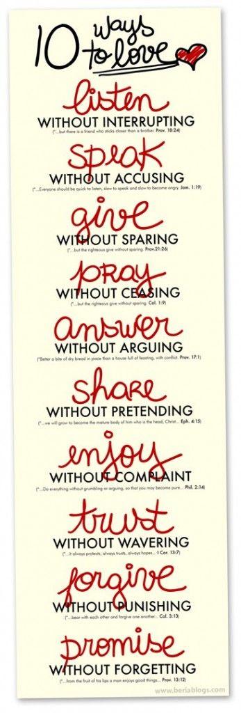 Ten Ways to Love. Proverbs 18, James 1:19, Proverbs 21:26, Colossians 1:9, Proverbs 17:1, Ephesians 4:15, Philippians 2:14, Corinthians 13:7, Colossians 3:13, Proverbs 13:12.