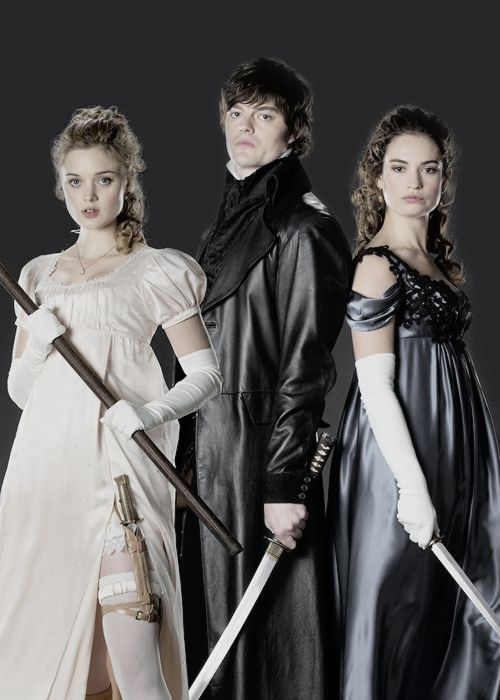 lilyjamessource:  Bella Heathcote as Jane Bennet, Sam Riley as Mr. Darcy, and Lily James as Elizabeth Bennet in Pride and Prejudice and Zombies.