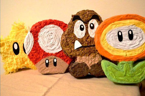Mario bros characters SET of 5 mini pinatas by PartyTimeCrafts