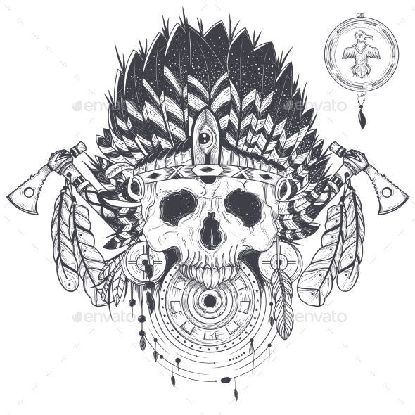 Vector Illustration of a Human Skull in an Indian - Tattoos Vectors