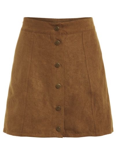 Faux Suede Buttoned Front Skirt  ( Forever 21)