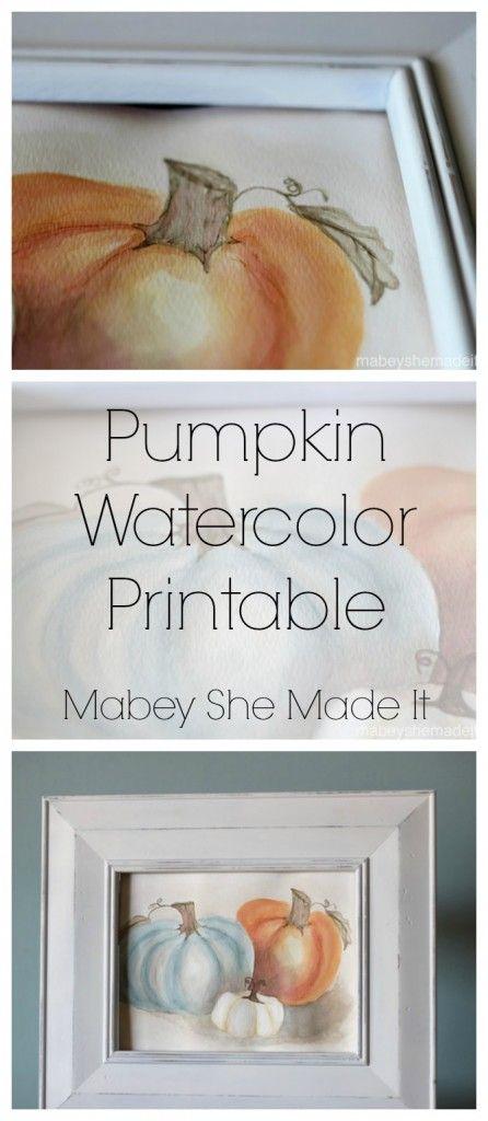 Free Pumpkin Watercolor Printable   Mabey She Made It   #pumpkin #falldecor #watercolor