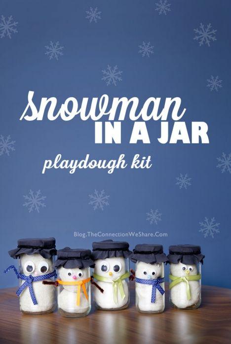 Snowman in a jar playdough kit