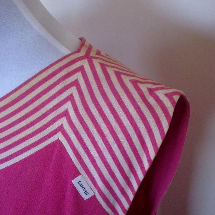 VINTAGE authentic LANVIN paris designer vintage 60s/70s hot pink chevron stripe shift dress (equiv sz us 8, uk au nz 12, eu 40) by shopblackheart on Etsy