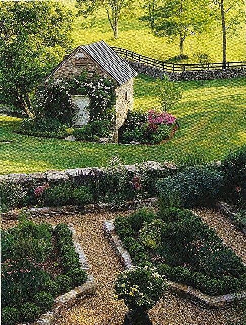 Garden love.: Gardens Design Ideas, Stones Wall, Gardens Houses, English Gardens, Potager Gardens, Formal Gardens, Beautiful Gardens, Interiors Gardens, English Countryside