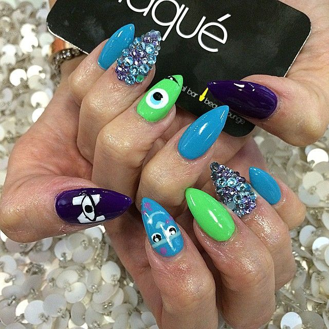 """""""Monster inspired nails for @papillonbakery for little @niko_torosian 1st birthday party!! #Laque #laquenailbar #getlaqued"""""""