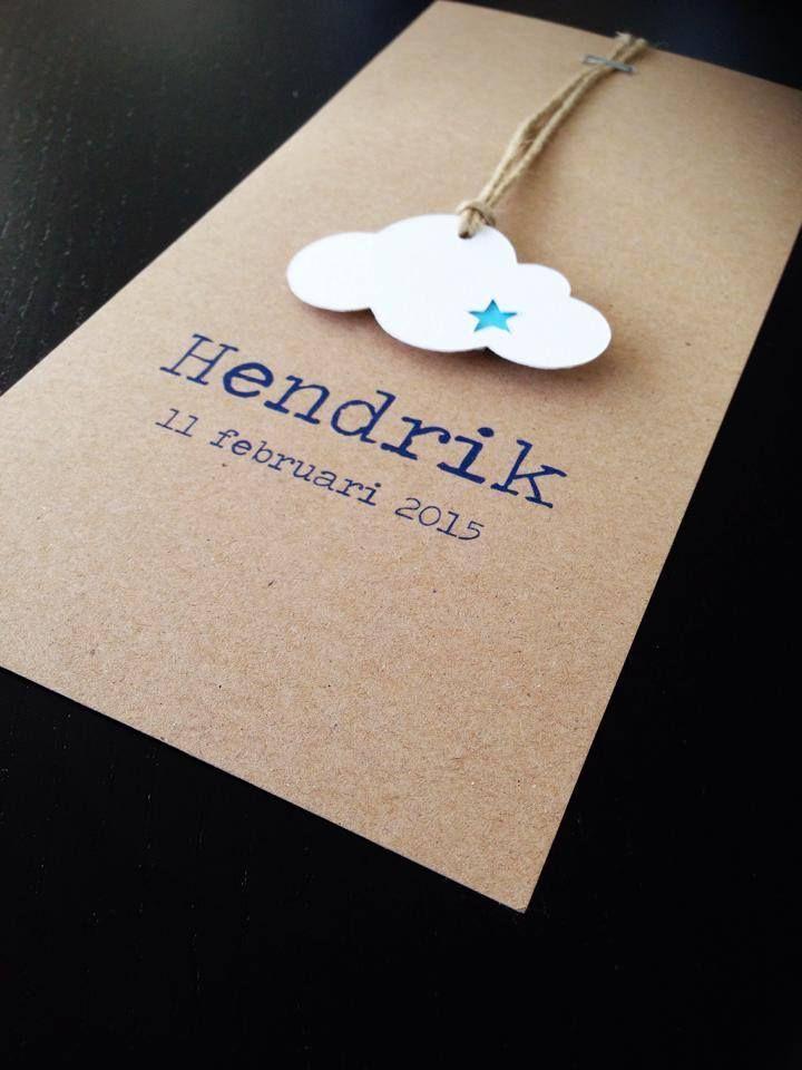Geboortekaartje wolk. Ontwerp op maat door www.blueandpink.be