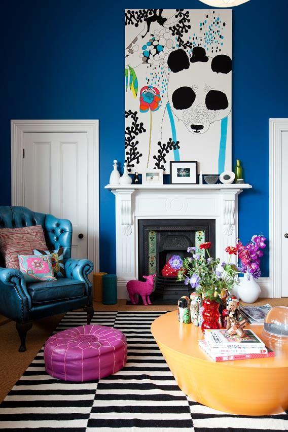 Alex Fulton Design #color #marimekko #Stripe Rug, cerulean blue wall